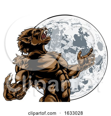 Howling Full Moon Werewolf Monster by AtStockIllustration