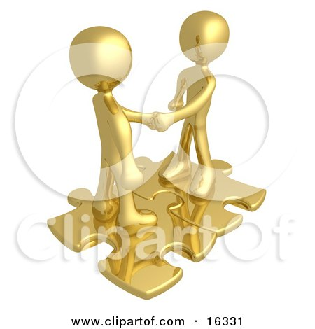 Two Gold People Shaking Hands While Standing On Connected Gold Puzzle Pieces, Symbolizing Teamwork, Deals, And Link Exchanges For Seo Website Marketing  Posters, Art Prints
