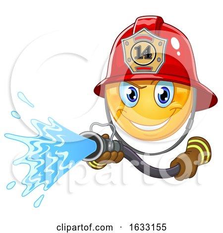 Yellow Emoticon Smiley Emoji Fire Fighter Using a Hose by yayayoyo