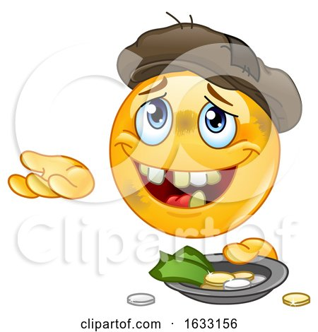 Homeless Begging Yellow Emoticon Smiley Emoji Posters, Art Prints