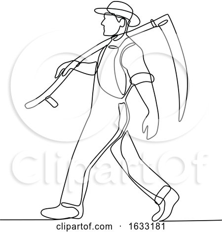 Organic Farmer Walking Scythe Continuous Line by patrimonio