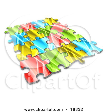 Pieces Of A Colorful Puzzle Connected Over A White Background, Symbolizing Interlinking For Seo Website Marketing, Teamwork And Diversity  Posters, Art Prints