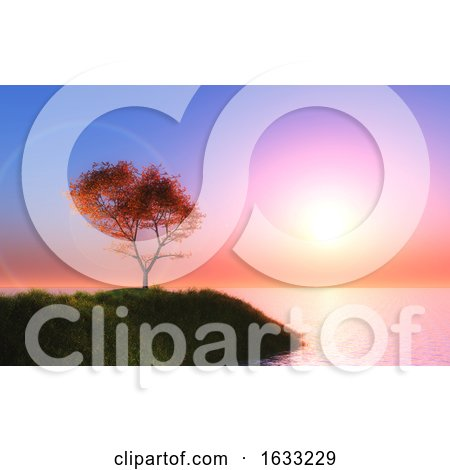3D Maple Tree Against a Sunset Sky by KJ Pargeter