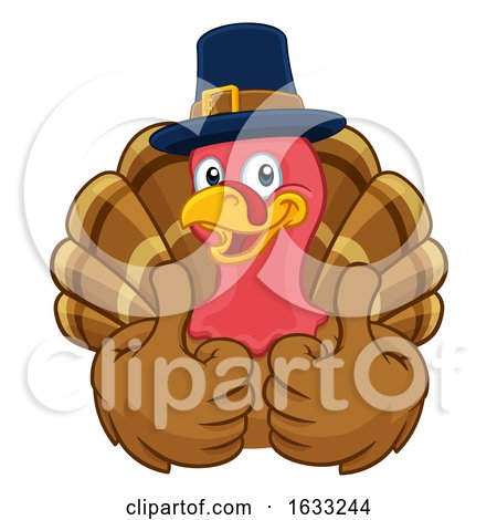 Turkey Pilgrim Hat Thanksgiving Cartoon Character by AtStockIllustration