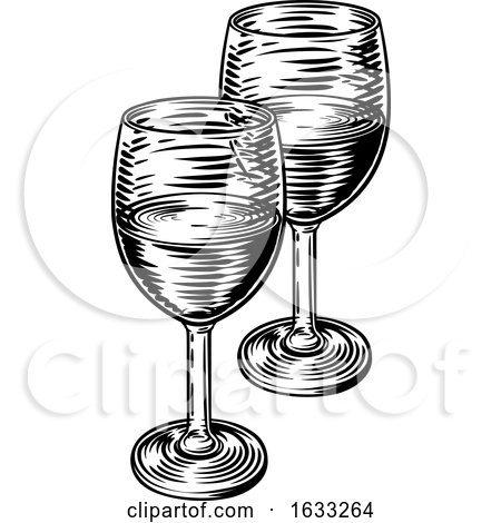 Wine Glasses Vintage Woodcut Etching Style by AtStockIllustration
