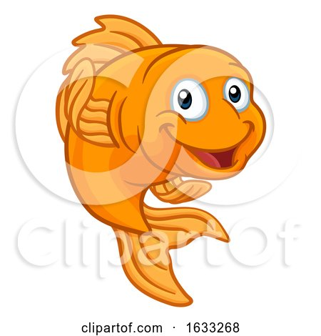 Gold Fish or Goldfish Cartoon Character by AtStockIllustration