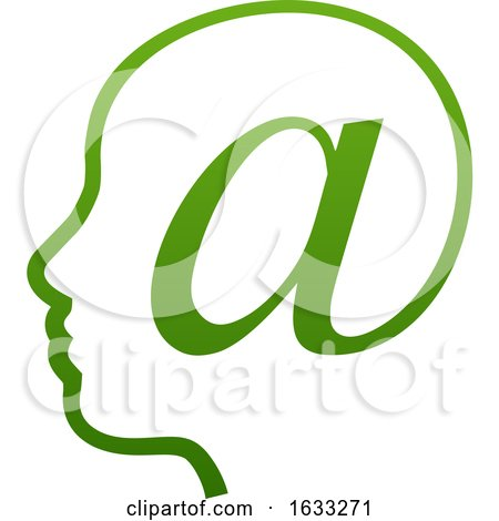 Profiled Face in an Email Arobase at Symbol by AtStockIllustration