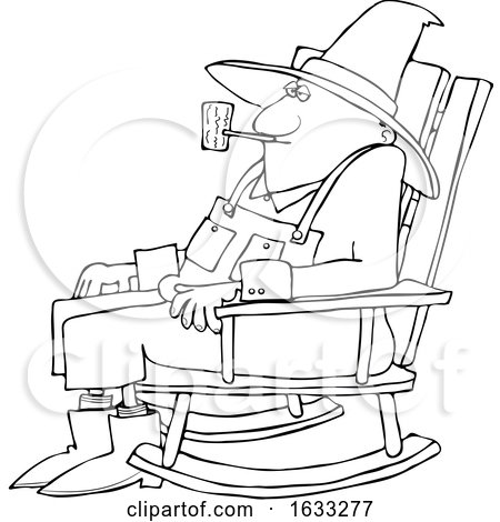 Cartoon Black and White Senior Man Smoking a Pipe and Sitting in a Rocking Chair by djart