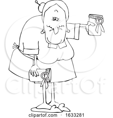 Cartoon Black and White Granny Holding Her Prize Winning Jam by djart
