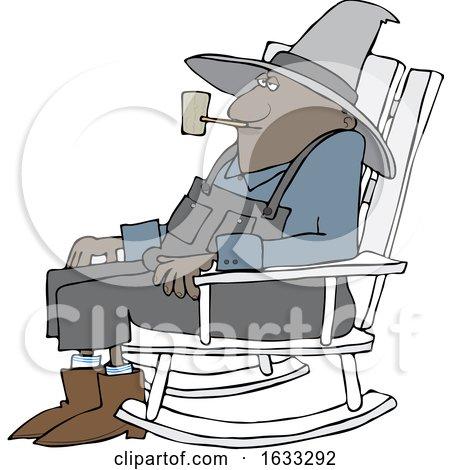 Cartoon Senior Black Man Smoking a Pipe and Sitting in a Rocking Chair by djart