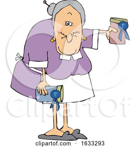 Cartoon White Granny Holding Her Prize Winning Jam by djart