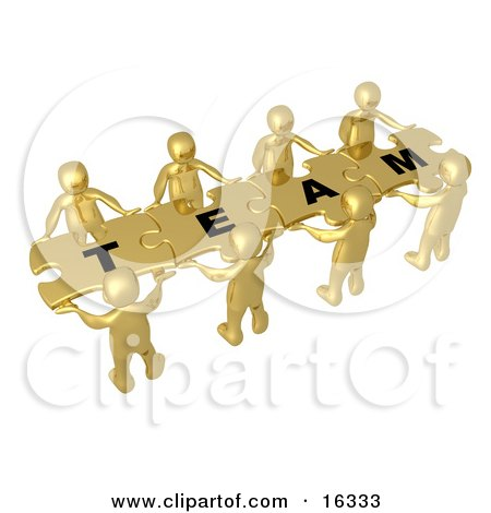 """Team Of 8 Gold People Holding Up Connected Pieces To A Colorful Puzzle That Spells Out """"Team,"""" Symbolizing Excellent Teamwork, Success And Link Exchanging Clipart Illustration Graphic by 3poD"""