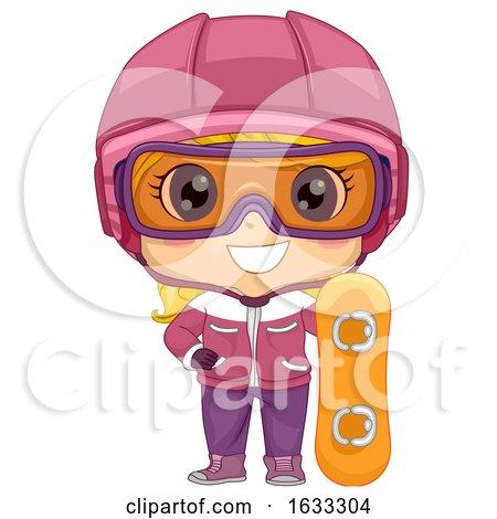Kid Girl Snowboard Illustration by BNP Design Studio