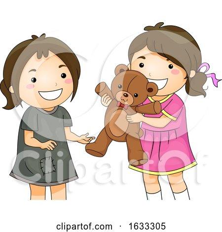 Kid Girls Share Toy Bear Unfortunate Illustration by BNP Design Studio