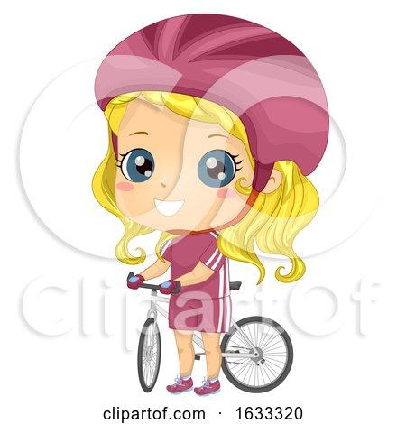 Kid Girl Cyclist Bicycle Illustration by BNP Design Studio