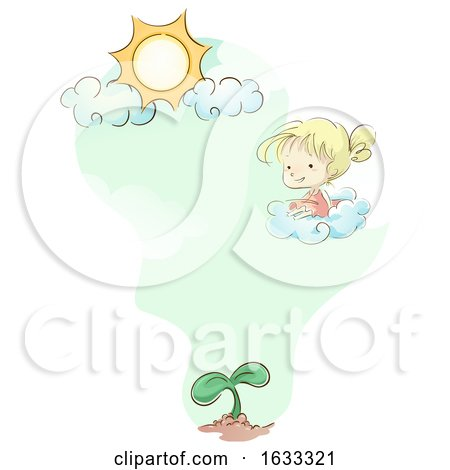 Kid Girl Cloud Sun Plant Illustration by BNP Design Studio