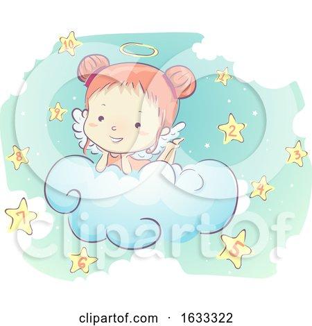 Kid Girl Angel Clouds Stars Numbers Illustration by BNP Design Studio