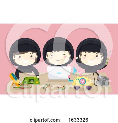 Kids Girls Muslim Team Robotics Illustration by BNP Design Studio