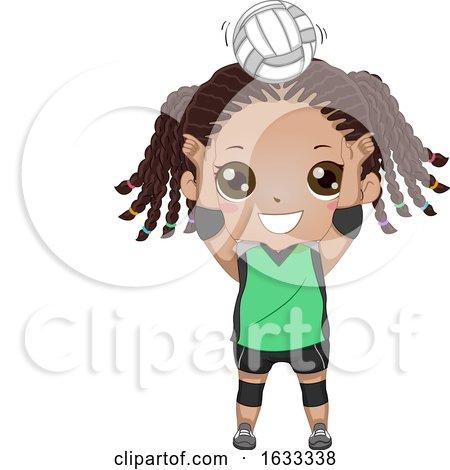 Kid Girl Black Volleyball Setter Illustration by BNP Design Studio
