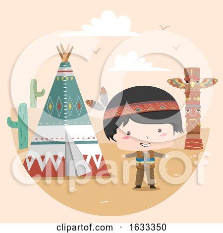 Kid Boy Native American Indian Tipi Illustration by BNP Design Studio