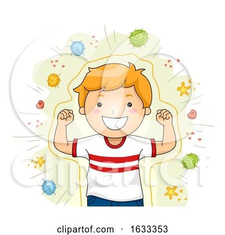 Shield Against Viruses Strong Kid Illustration by BNP Design Studio