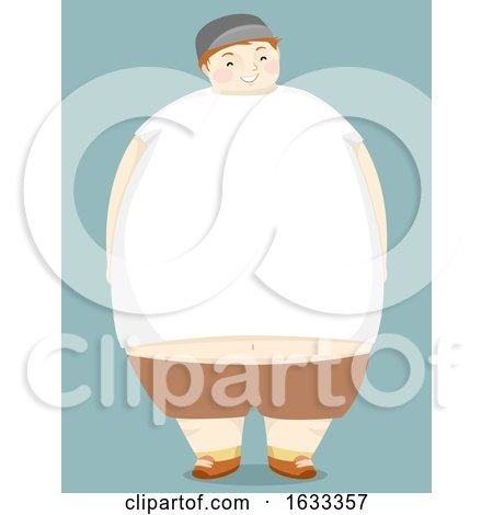 Kid Boy Fat White Shirt Copyspace Illustration by BNP Design Studio