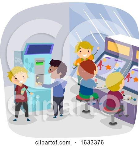 Stickman Kids Token Machine Arcade Illustration by BNP Design Studio