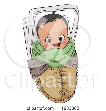 Kid Boy Baby Native American Papoose Illustration by BNP Design Studio