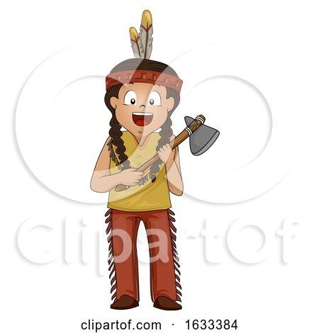 Kid Boy American Indian Stone Ax Illustration by BNP Design Studio