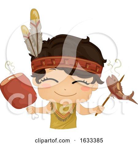 Kid Boy American Indian Fish Meat Illustration by BNP Design Studio