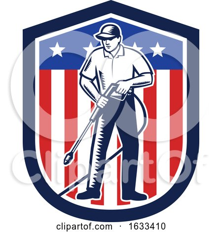 Retro Woodcut Pressure Washer Worker over an American Shield by patrimonio