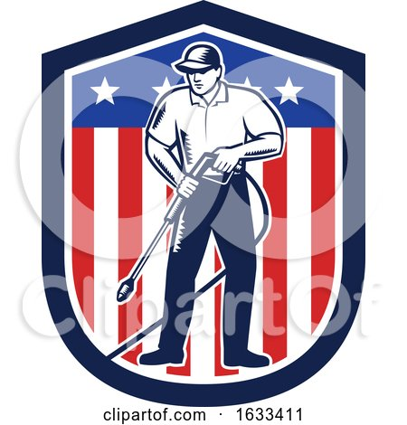 Retro Woodcut Strong Pressure Washer Worker over an American Shield by patrimonio