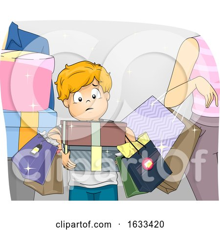 Kid Boy Parents Impulse Buying Illustration by BNP Design Studio