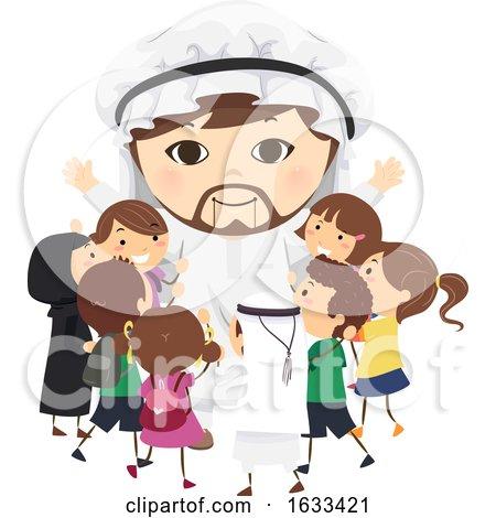 Stickman Kids Arab Mascot Hug Illustration by BNP Design Studio
