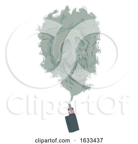 Electronic Cigarette Smoke Skull Illustration by BNP Design Studio