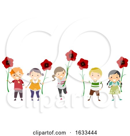 Stickman Kids Poppy Flowers Remembrance Day by BNP Design Studio