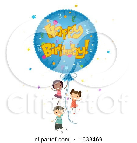 Stickman Kids Mylar Balloon Happy Birthday by BNP Design Studio