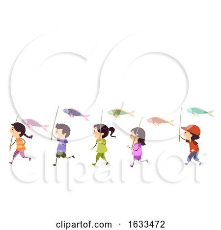 Stickman Kids Japan Paper Koi Fish Kites Posters, Art Prints