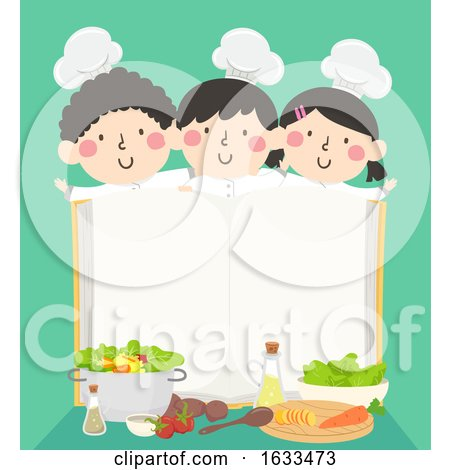 Kids Chefs Open Cook Book Recipes Illustration Posters, Art Prints