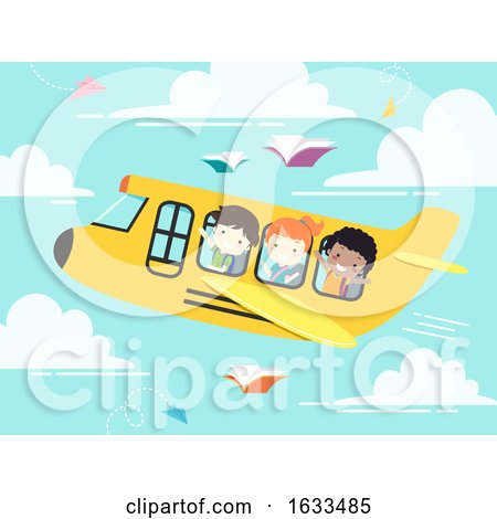 Kids Student School Plane Illustration by BNP Design Studio