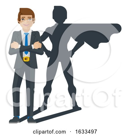 Superhero Businessman Shadow Cartoon Mascot by AtStockIllustration