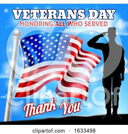 Soldier Saluting American Flag Veterans Day Design by AtStockIllustration