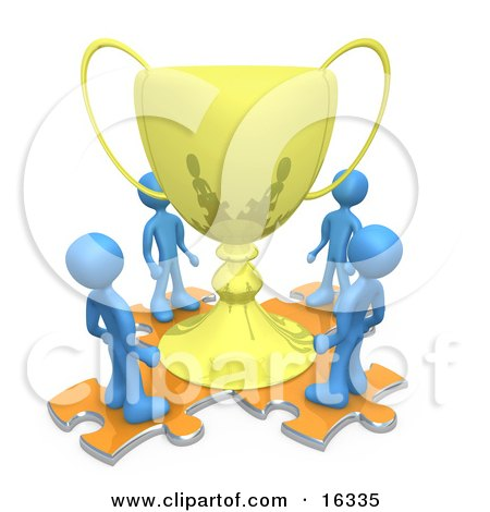 Group Of Blue People Standing On Orange Puzzle Pieces And Looking Up At A Giant Golden Tropy Cup After Winning A Championship  Posters, Art Prints