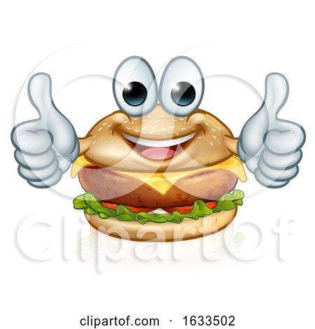 Burger Food Cartoon Character Mascot by AtStockIllustration
