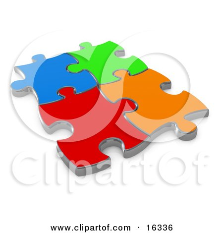 Four Different Colored Puzzle Pieces Connected Over A White Background, Symbolizing Interlinking For Seo Website Marketing, Teamwork And Diversity  Posters, Art Prints
