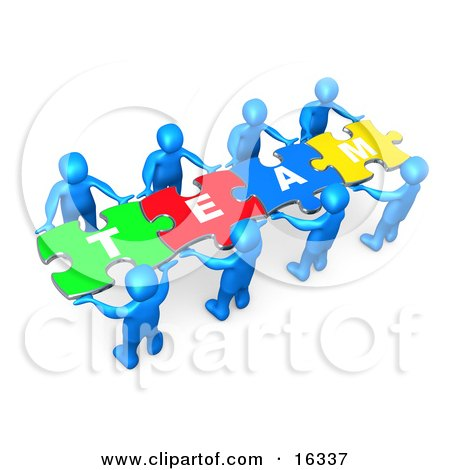 "Team Of 8 Blue People Holding Up Connected Pieces To A Colorful Puzzle That Spells Out ""Team,"" Symbolizing Excellent Teamwork, Success And Link Exchanging  Posters, Art Prints"