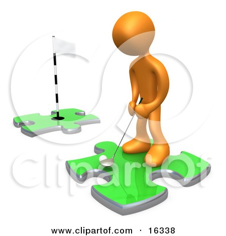 Orange Person Standing On A Green Puzzle Piece, Teeing Off And Aiming For A Hole On Another Piece, Symbolizing Goals  Posters, Art Prints
