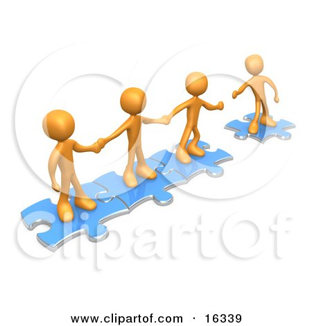 Team Of Three Orange People Holding Hands And Standing On Blue Puzzle Pieces, With One Man Reaching Out To Connect Another To Their Group Clipart Illustration Graphic by 3poD