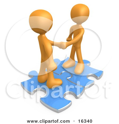 Two Orange People Shaking Hands While Standing On Connected Blue Puzzle Pieces, Symbolizing Teamwork, Deals, And Link Exchanges For Seo Website Marketing  Posters, Art Prints