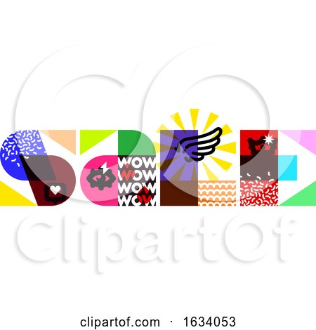 Sale Banner Template Design with Multicolored Letters and Contemporary Design Elements by elena